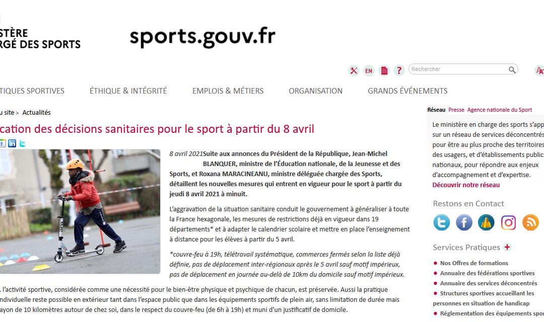 Nouvelle application des décisions sanitaires pour le sport à partir du 8 avril